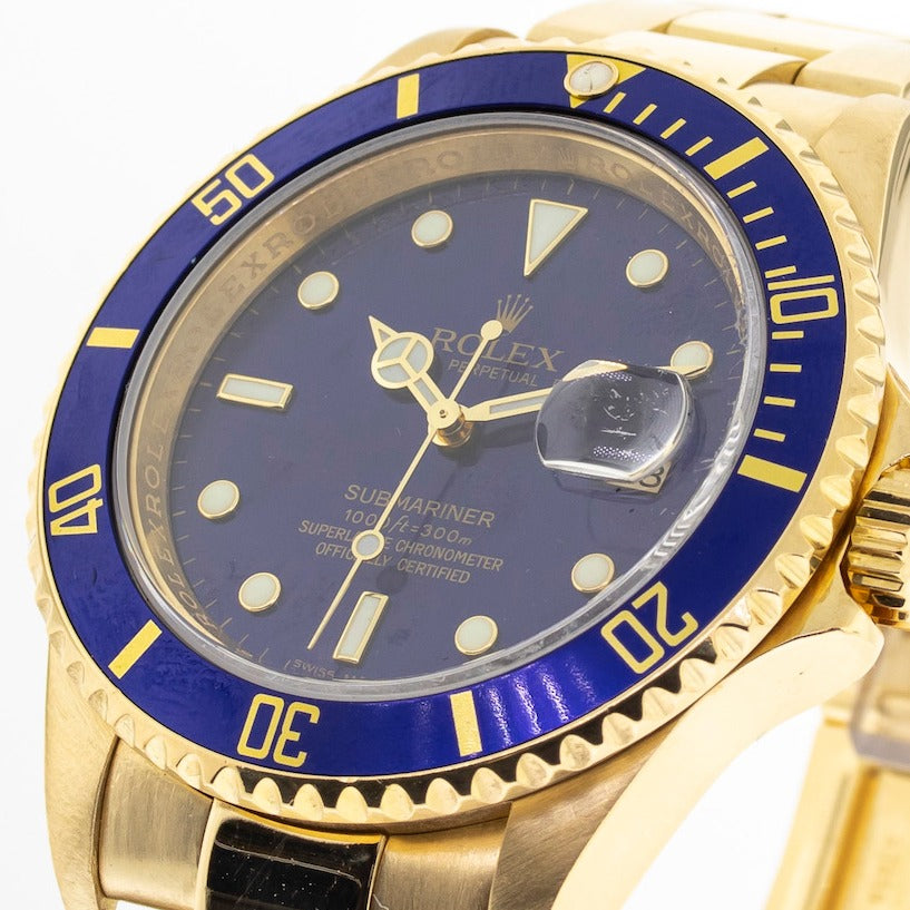 Rolex 18k Yellow Gold Submariner 40mm Blue Dial All Gold Blue Sub 16618-Da Vinci Fine Jewelry