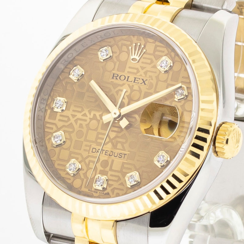 Rolex Datejust 36mm Yellow Gold & Steel Jubilee Diamond Dial Fluted Bezel 116233-Da Vinci Fine Jewelry