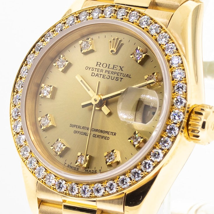 Rolex Lady-Datejust 26mm Yellow Gold Champagne Diamond Dial & Bezel 69138-Da Vinci Fine Jewelry