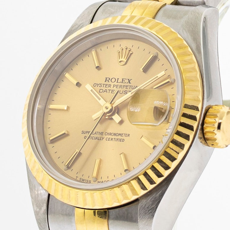 Rolex Lady-Datejust 26mm Yellow Gold & Steel Champagne Stick Dial 69173-Da Vinci Fine Jewelry