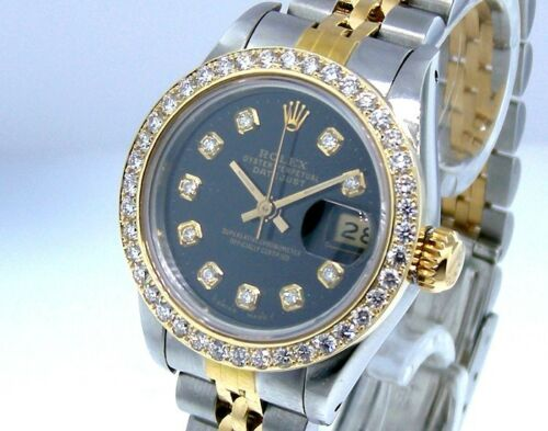 Rolex Lady-Datejust 26mm Yellow Gold & Steel Black Diamond Dial & Bezel 69173-Da Vinci Fine Jewelry