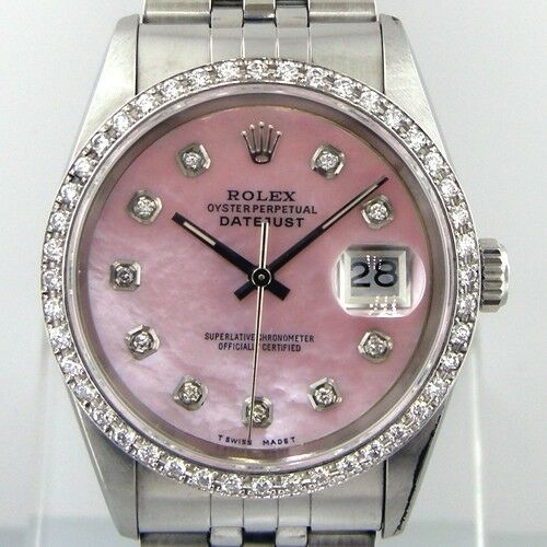 Rolex Datejust Steel Jubilee Diamond Bezel Pink Mother Of Pearl Diamond Dial 68240-Da Vinci Fine Jewelry