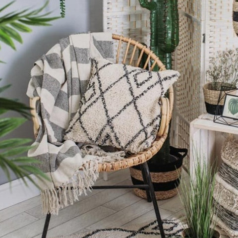 Boho striped throw