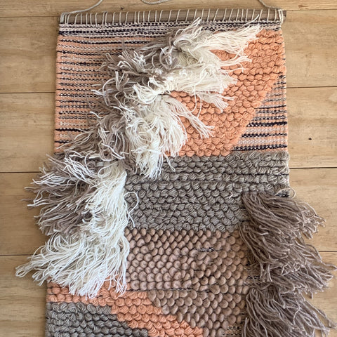 Peach Boho Hand Weaved Wall Hanging