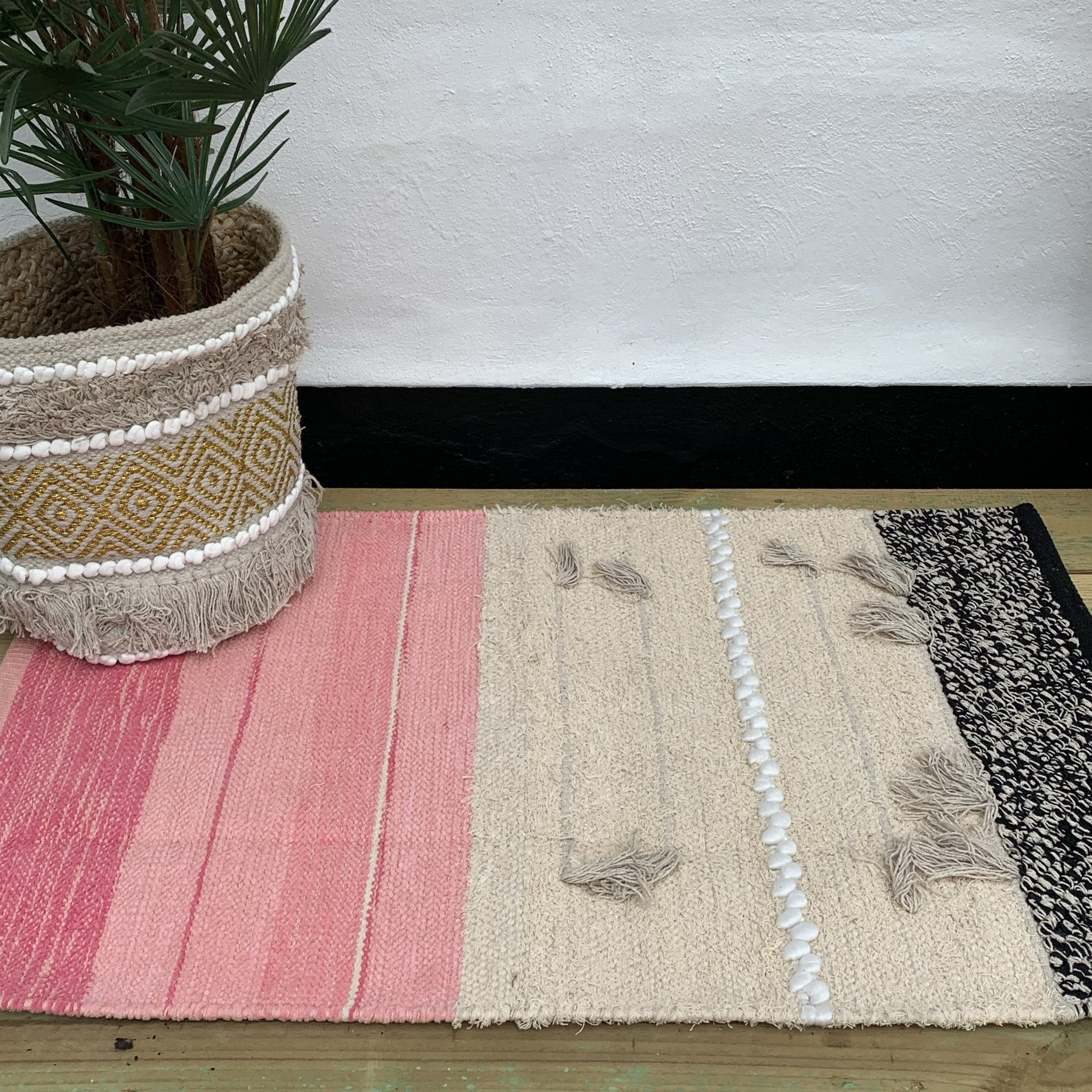 Pink Hand Weaved Textured Boho Rug