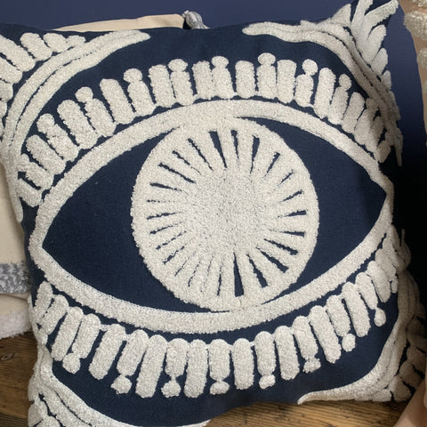 Scandi Eye Blue Cushion Cover