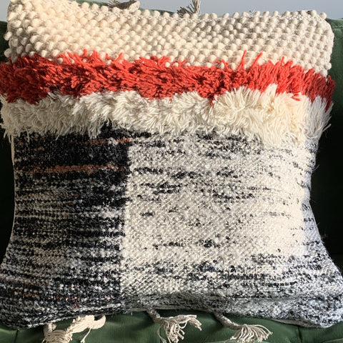 Brown And  Burnt Orange / Red  Textured Cushion Cover