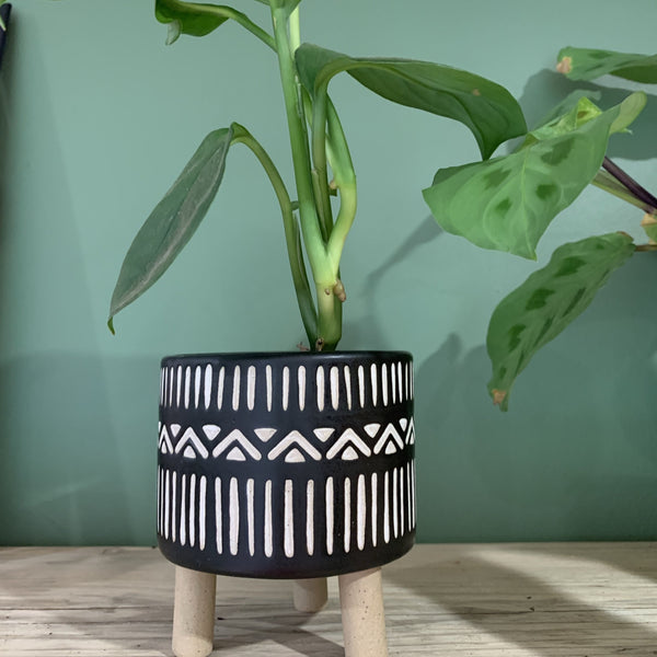 Black and white geo leggy planter