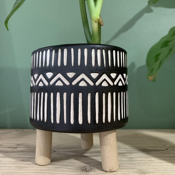 Black & White Geo Leggy Planter