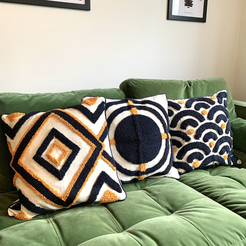Orange and Black Boho Hand Woven Cushion Cover