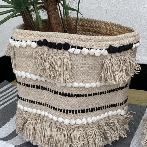 Moroccan Pom Pom Handweaved  Planter/Storage