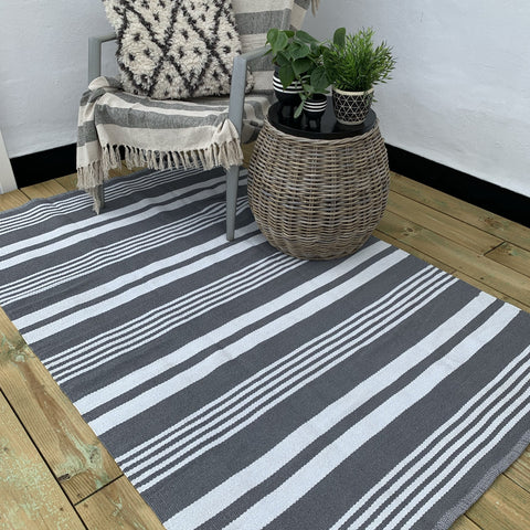 Grey And White Striped Outdoor Rug