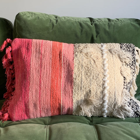 Pink Textured Cushion Cover