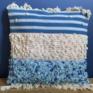 Pink & Blue Textured Boho Cushion Cover