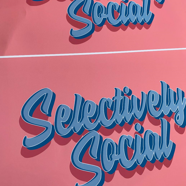 Selectively Social Typography Pink Print