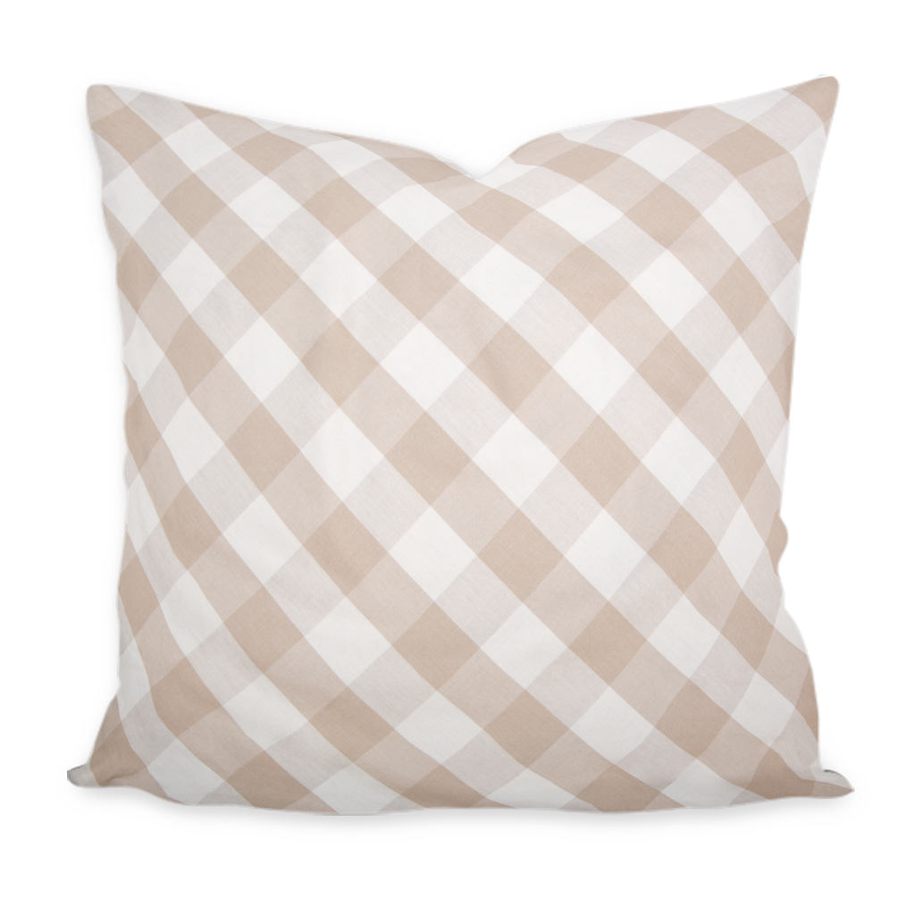 """Madeline"" Wheat & Sand Plaid on the Bias Pillow"