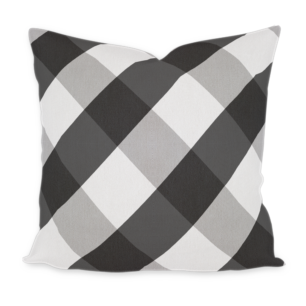 """Magnolia"" Black & White Buffalo Plaid on the Bias Pillow"