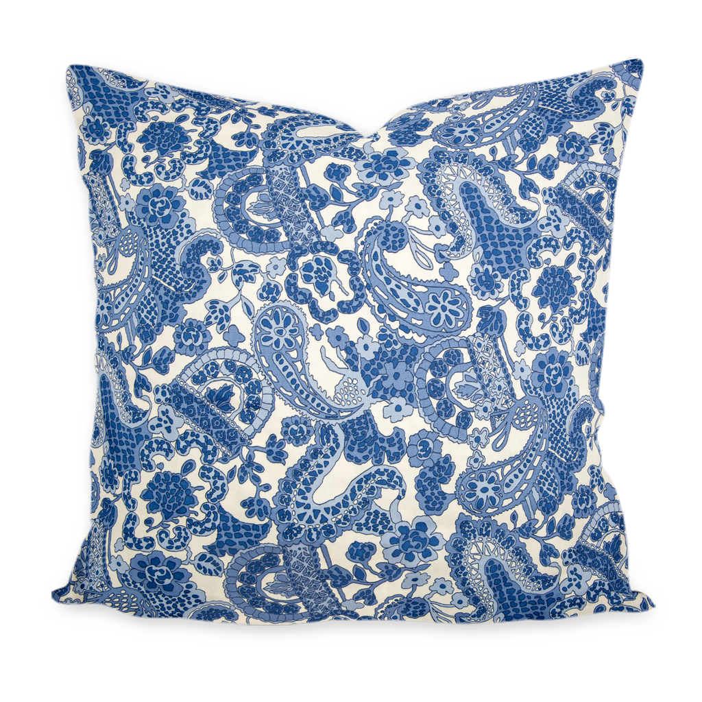 """Charlotte"" Blue & White Paisley Pillow Cover"