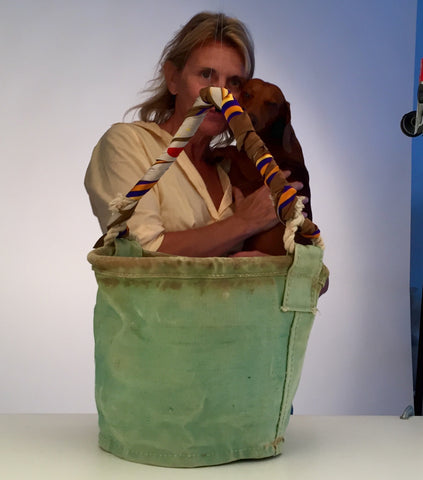 Carine Letessier Malibu Bucket Bag and Darius the dachshund, not a bag.