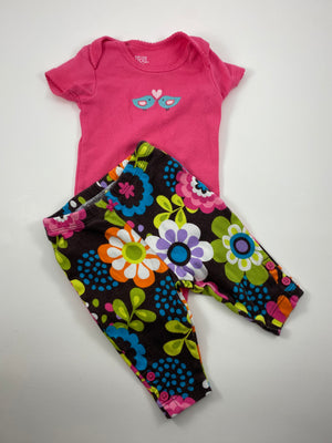 Girl's Short Sleeve Outfit - Size 0-3mo