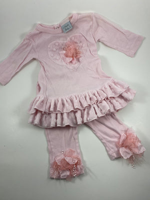 Girl's Long Sleeve Outfit - Size 3-6mo