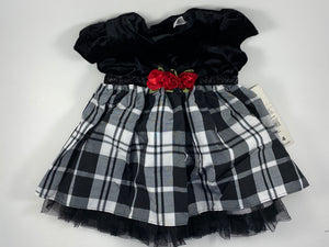 Girl's Black Plaid Christmas Dress - Size 3-6mo