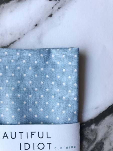Light Blue Polka Dot Pocket Square