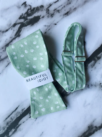 Mint Dot Bow Tie