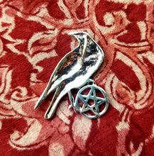 Load image into Gallery viewer, Pentacle of the Raven sterling silver pendant