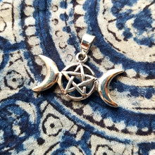 Load image into Gallery viewer, Triple moon pentacle sterling silver pendant