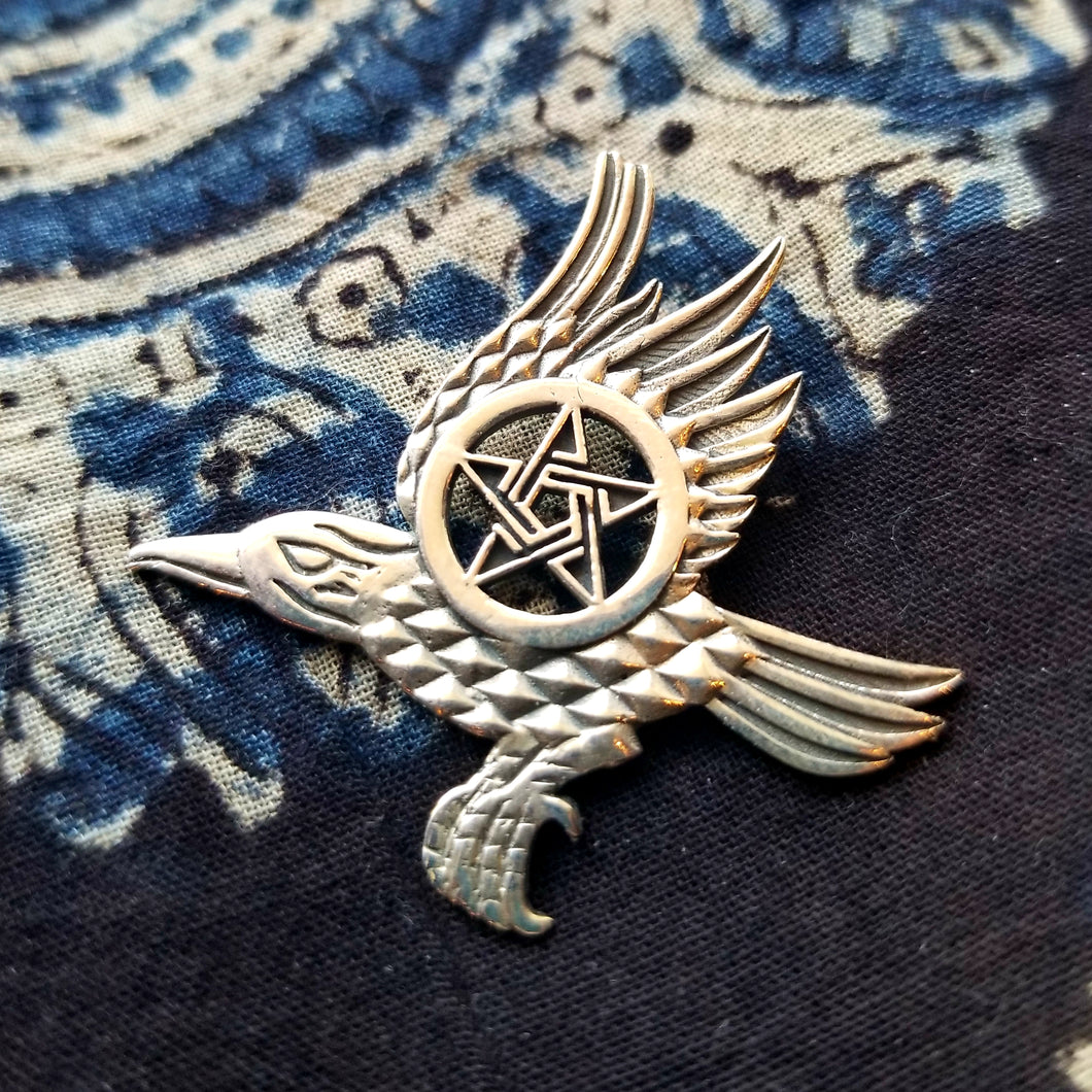 Pentacle of the Raven sterling silver pendant