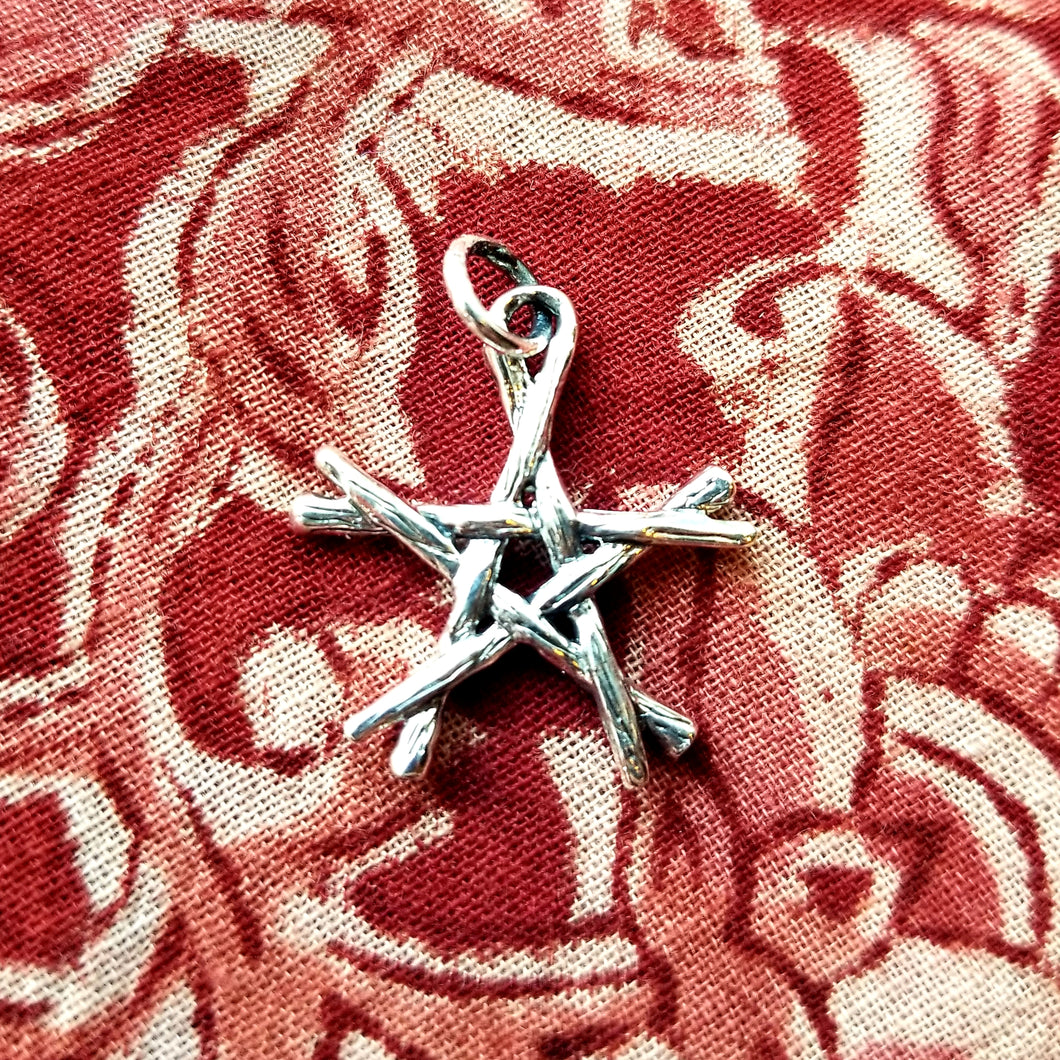 Branch pentacle sterling silver pendant