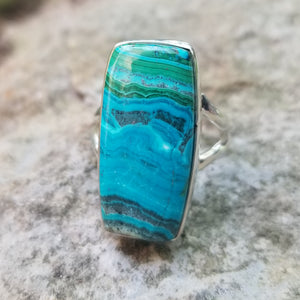 Malachite & chrysocolla ring (size 7.5)