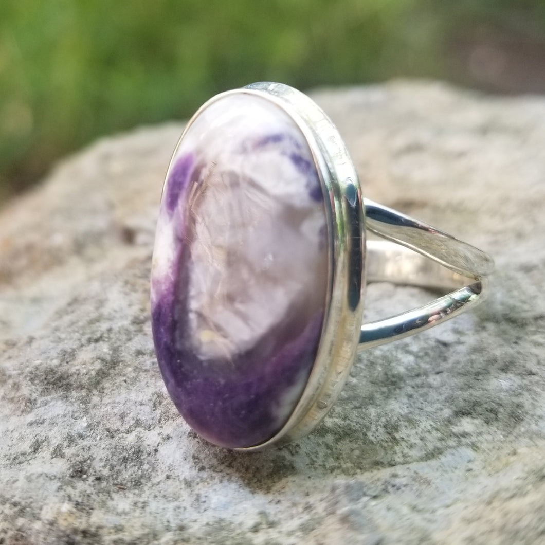 Violet flame opal ring (size 11)