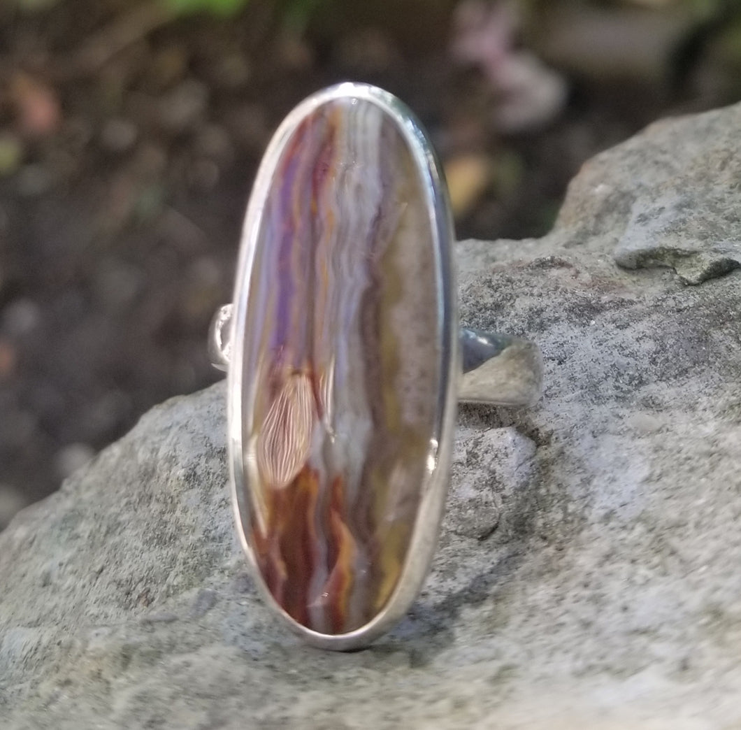 Crazy lace agate ring (size 9)
