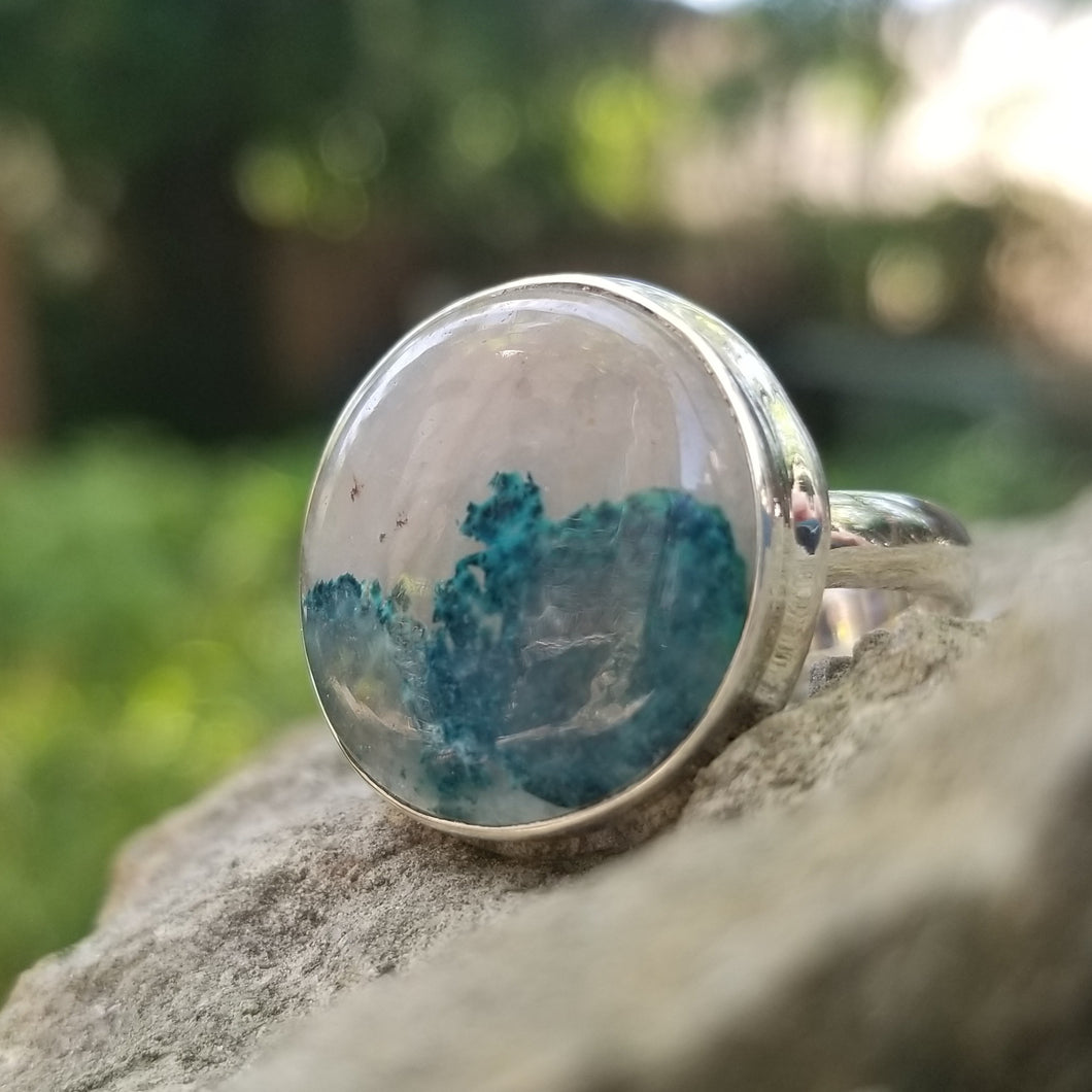 Azurite in quartz ring (size 8.5)