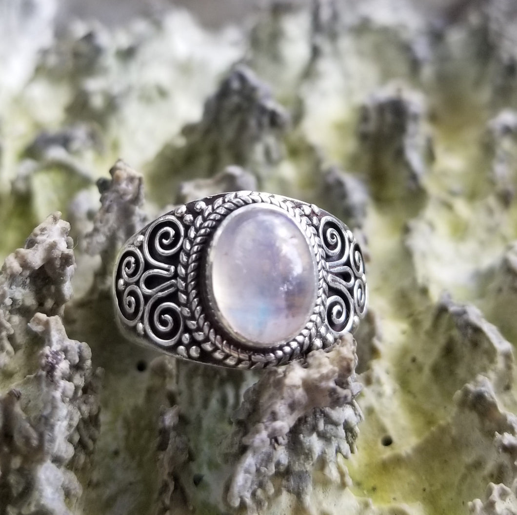 Rainbow moonstone ring (size 8)