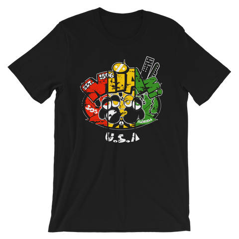 Miami Florida USA Rasta Crew-Neck T-Shirt