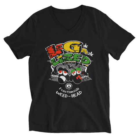 Legalized (FWH) Functionable Weed-Head Blank Face V-Neck T-Shirt For Him