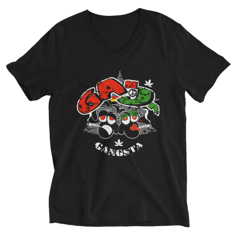 Ganja Gangsta BDL Face V-Neck T-Shirt For Him