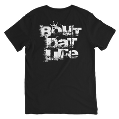 Roots, Rock & Reggae Bout Dat Life White Texted V-Neck T-Shirt For Him