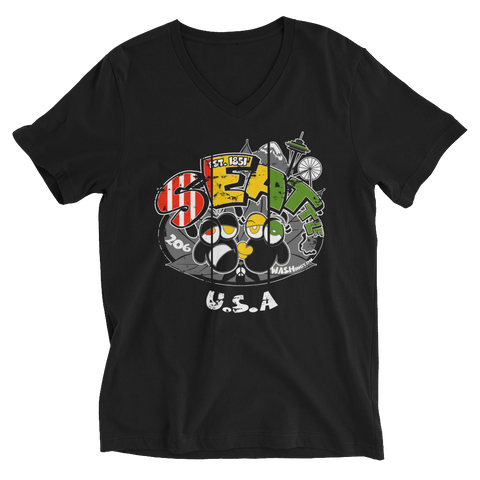 Seattle WA USA Rasta Bout Dat Life V-Neck T-Shirt For Him