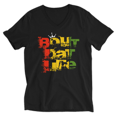 Bout Dat Life Signature Logo Rasta V-Neck T-Shirt For Him