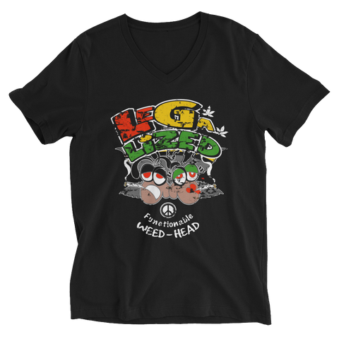 Legalized (FWH) Functionable Weed-Head Reggae V-Neck T-Shirt For Him