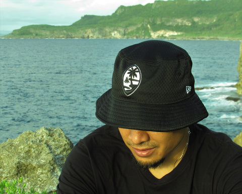 Guam Seal New Era Bucket Hat Mesh Black/White