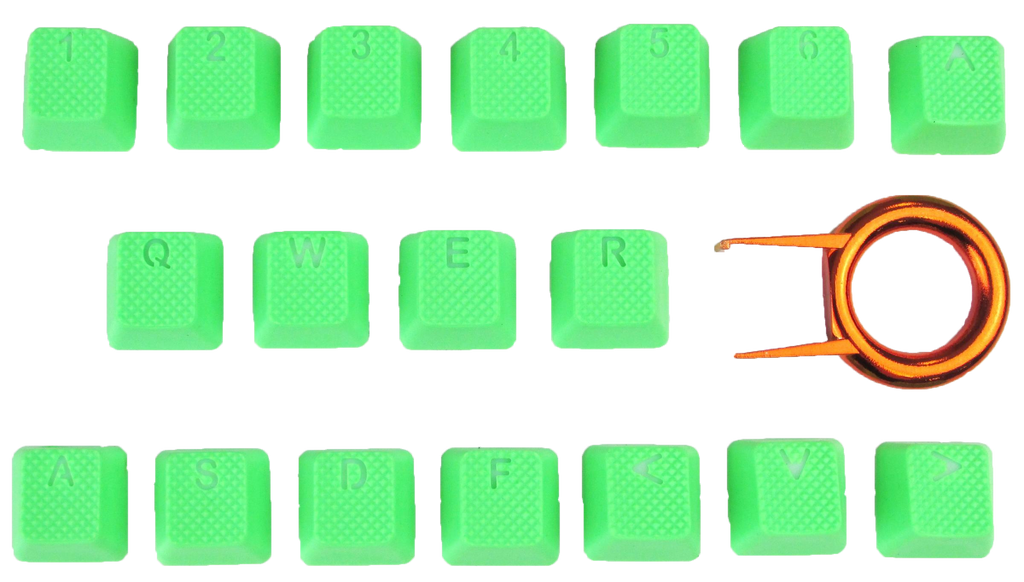 Neon Green Tai-Hao 18-Key Backlit Double Shot Rubber Keycaps 2-3 DAY SHIPPING