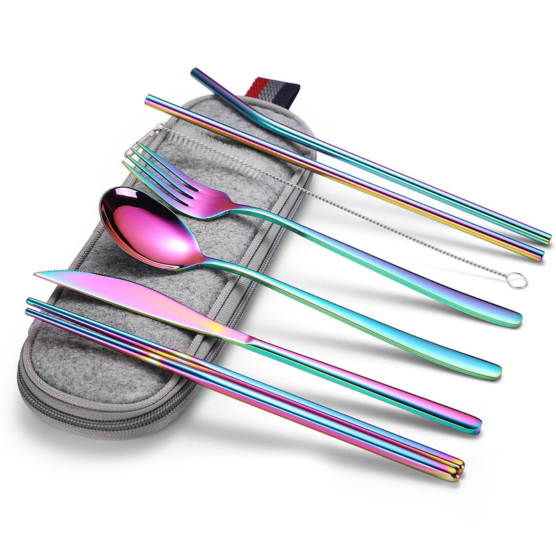 7-Piece Stainless Steel Travel Cutlery Set