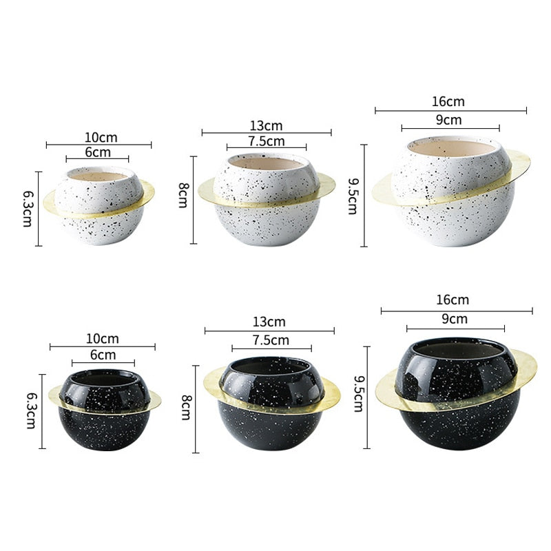 Rings Of Saturn Ceramic Plant Pot
