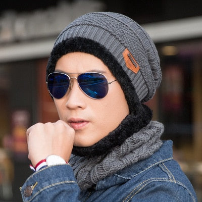 2 Piece Thick Knitted Beanie and Neck Warmer