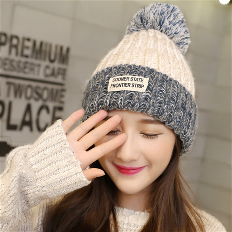 Women's Thick Knitted Wool Beanie